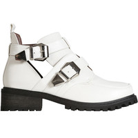 Zero Cut Out Buckle Boot - White