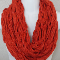 Pumpkin Orange Arm Knitted Infinity Scarf Burnt Orange Arm Knit Circle Scarf Knitted Fall Scarf Womens or Girls Knitted Scarves Arm Knit