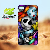 iPhone 4 4s / 5 Case - Nightmare Cute Jack Skellington With Sally Figurine Art Painting  -  Hard Case iP4 ( Black / White Color Case )
