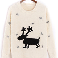 White Elk And Snowflake Pattern Fluffy Knit Jumper
