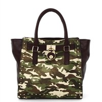 HauteChicWebstore Trapeze Camouflage Studded Tote Green - www.shophcw.com