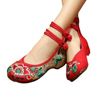 Chinese Embroidered Floral Shoes Women Ballerina Mary Jane Flat Ballet Cotton Loafer Red