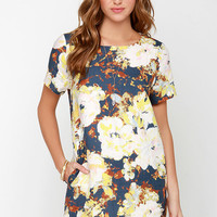 I. Madeline Floralscape Navy Blue Floral Print Dress