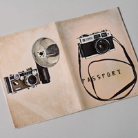 Handmade funny leather passport cover with print Retro Camera Stylish accessory