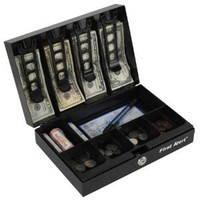 First Alert 3026F Cash Box with Money Tray, Black