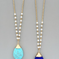 Pearl Stone Necklaces - Turquoise or Lapis Lazuli