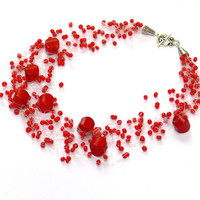 Red Necklace. Multistrand Necklace. Beadwork. Beaded Jewelry