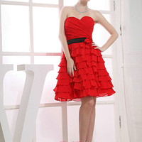 Custom Handmade Sweetheart Red Tiered Black Sash Flower Short Prom/Evening/Party/Bridesmaid/Cocktail/Homecoming Dress Gown