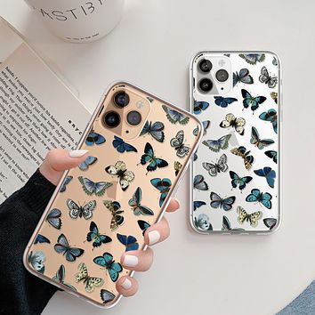 Blue Butterfly Clear Phone Case