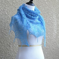 Knit shawl with beads in blue color, laced shawl, gift for her