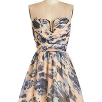 ModCloth Short Length Strapless Fit & Flare Swirls of Sass Dress