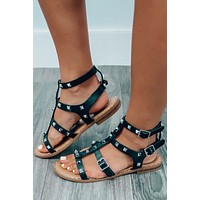 Leave It All Behind Sandals: Black/Silver