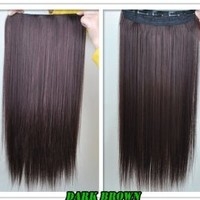 """8 Color 23"""" Straight Full Head Clip in Hair Extensions Wwii101 (Dark Brown)"""
