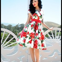 Birdie Party Dress in Red Vintage Floral | Pinup Girl Clothing