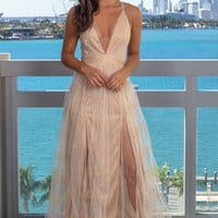 White and Nude Printed Tulle Maxi Dress