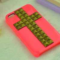 studded iphone 4 case--  pyramid studded iphone 4S  case in cross style