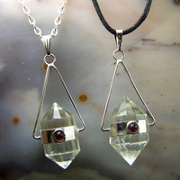 Double Terminated Quartz crystal necklace pendant Garnet cabochon gemstone - custom 18 24 inch chain black cord clear polished point silver
