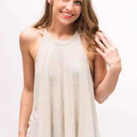 Round Neck Flare Tank- Oatmeal