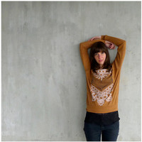 The Nomad - tribal womens pullover - arrows and lace chest plate on rust orange lightweight raglans - spring fashion - S/M/L/XL