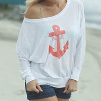 Live Life Anchored Slouchy Long Sleeve Tee White/Coral