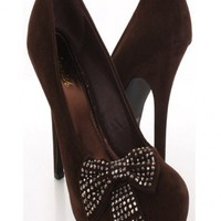 Coffee Faux Suede Decorative Bow Rhinestone Detail Holiday Heels @ Amiclubwear Heel Shoes online store sales:Stiletto Heel Shoes,High Heel Pumps,Womens High Heel Shoes,Prom Shoes,Summer Shoes,Spring Shoes,Spool Heel,Womens Dress Shoes,Prom Heels,Prom Pump
