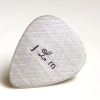 Custom Guitar Pick - Personalized Sterling Silver Hand Stamped Guitar Pick -  Music Lovers Gift for Him - Mens Gift Fathers Day