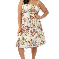 Womens Plus Size Floral Tropical Print Spring Midi Dress