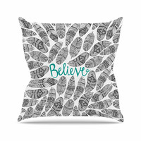 """Pom Graphic Design """"Believe"""" Gray Teal Throw Pillow"""