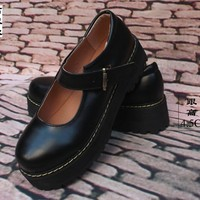 Black Princess Lolita Shoes Cute Sweet Japanese Shoes Girl Cosplay Maid Anim Shoes Student Girls Leather Pu Women Shoes
