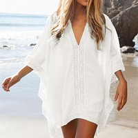 Casual Lace Hollow Out Loose Cotton Half Sleeve Swimwear Cover Up