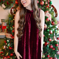 Va Va Voom Velvet Tank Dress- Maroon- FINAL SALE
