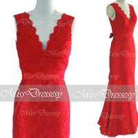 Mermaid Straps V neck Lace Red Prom Dresses, Evening Gown, Lace Evening Dresses, Red Evening Gown, Wedding Party Dresses