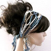 Sea and Shells Hand Crochet Gypsy Style Hair Band and Scarf | byKEONA - Accessories on ArtFire