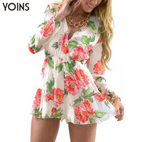 New V-neck Wrap Front Floral Print Romper Women Long Sleeve Jumpsuit Sexy Chiffon Bodysuit Summer Style Overalls
