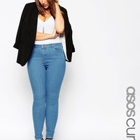 ASOS CURVE Ridley Skinny Jean in Serena 70s Blue Mid Wash