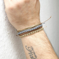 Unisex string bracelet - men bracelet - light brown