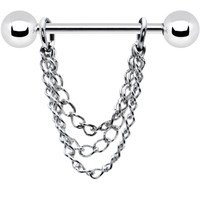 16 Gauge Handcrafted Draping Chain Dangle Nipple Ring | Body Candy Body Jewelry