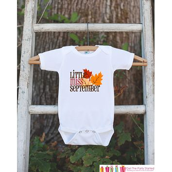 Little Miss September Onepiece Bodysuit - Take Home Outfit For Newborn Baby Girls - Fall Leaves Infant Going Home Hospital Onepiece