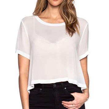 LACAUSA Sport Crop Tee in White