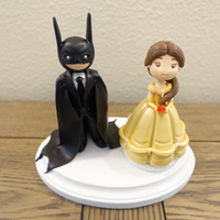 Belle Cake Topper, Disney Wedding Cake Topper, Batman Cake Topper, Wedding Cake Topper, Custom Cake Topper
