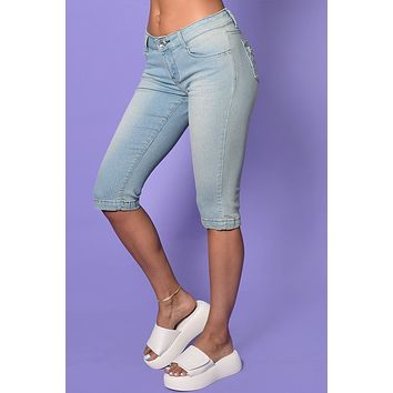 First Date Rhinestone Deadstock Y2K Denim Capris