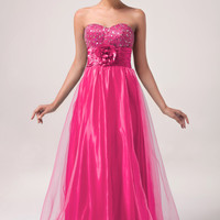 Solid Strapless Beaded Flower Ruched Flounce Evening Dress