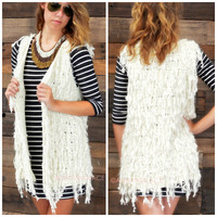 Between The Lines Ivory Layered Faux Fur Vest