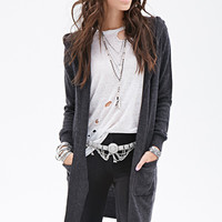 FOREVER 21 Hoodie Maxi Cardigan Charcoal Heather