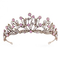 Vintage Bride Head Jewelry Plant Pink Rhinestone Bridal Crown Headbands Leaf Branch Crystal Tiara