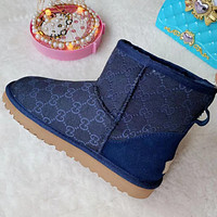 GUCCI UGG 2021 New GG Snow Boots Shoes Blue