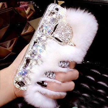 Luxurious Soft Bling REAL Rabbit Fur BIG Crystal Samsung Phone Case
