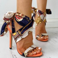 New style individual character is bound belt decorative pattern thin heel tall sandal ribbon wraps a foot sexy and large female shoe