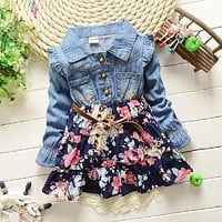 2017 Baby Kid Girls Floral Dress Denim Jeans Long Sleeve Baby Girls Princess Dress Autumn Clothes 2 color 1-5 years