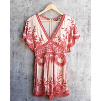 final sale - honey punch - v neck short sleeve embroidered lace romper - nude/red